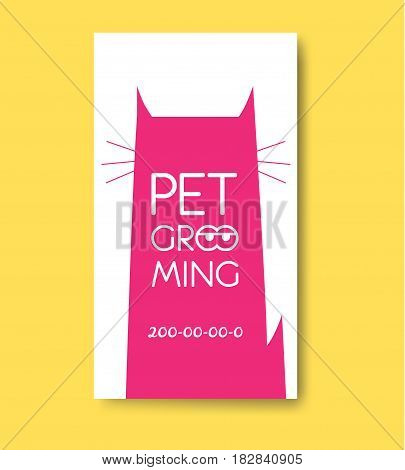 Pet grooming label with cat silhouette. Pet care services logo. Animals hair salon logo