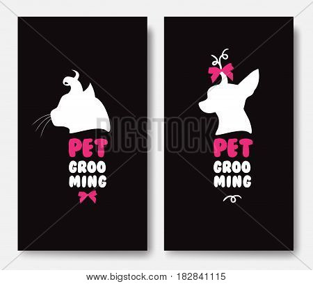 Business card template with silhouettes of cat and a dog on black background