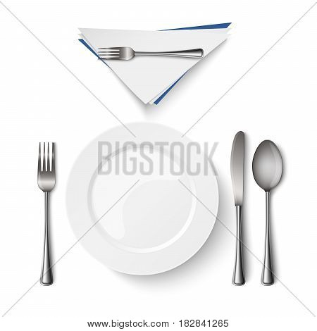 Empty plate with spoon knife and fork template vector eps 10
