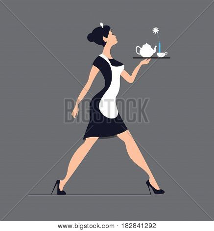 Waitress silhouette on a blue background. Slender girl carrying a tray with tea