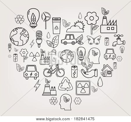 Ecology and environment concept. Heart shape ecology icons. Hand drawn illustration. Vector.