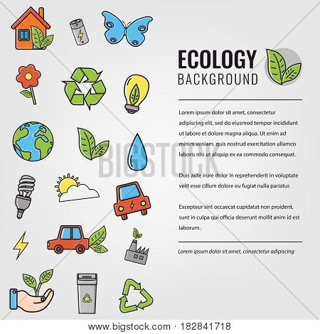 Ecology and environment background. Ecology icons. Hand drawn illustration.