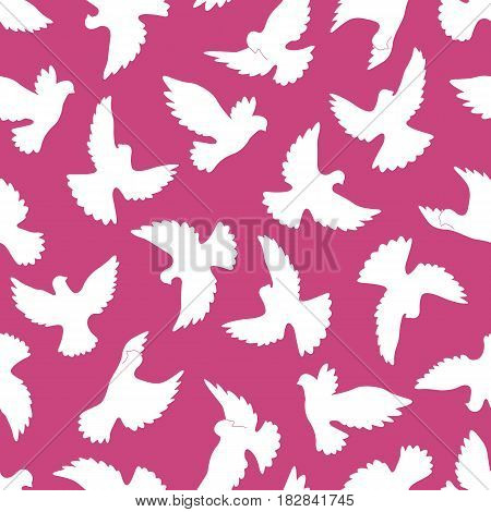 White doves seamless pattern on a violet background.