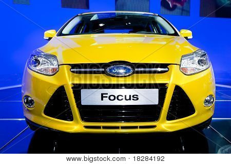 Moscow, Russia - August 25:  Yellow Car Ford Focus At Moscow International Exhibition Interauto On A