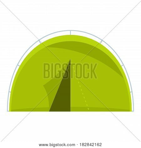 Green touristic camping tent icon flat isolated on white background vector illustration