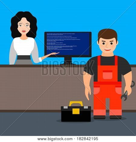 computer repair. the girl has caused the master on repair of computer equipment. vector illustration.