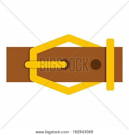 Brown leather belt icon flat isolated on white background vector illustration