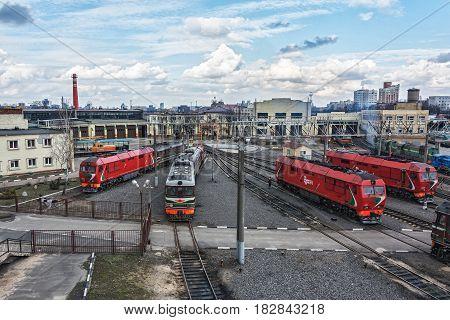 Belarus Minsk - 20.03.2017: Diesel locomotives in the locomotive depot of the railway
