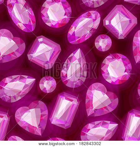 Beautiful sparkling gems seamless pattern on dark background