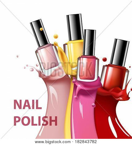 Colorful nail lacquer nail polish splatter on white background 3d illustration vogue ads for design Cosmetics and fashion background Template Vector.