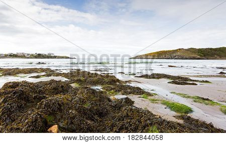 Wide angle view of Cemaes Bay in Anglesey North Wales