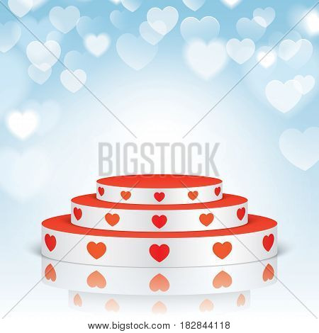 White vector stage with stairs and red hearts, isolated on a blue bokeh romantic background.