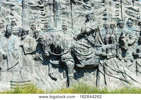 Inner Mongolia, China - Aug 10 2015: Relief At Site Of Xanadu (world Heritage Site). A Famous Histor