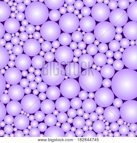 Seamless pattern. Imitation of violet pearls. Black volume sphere balls bubbles