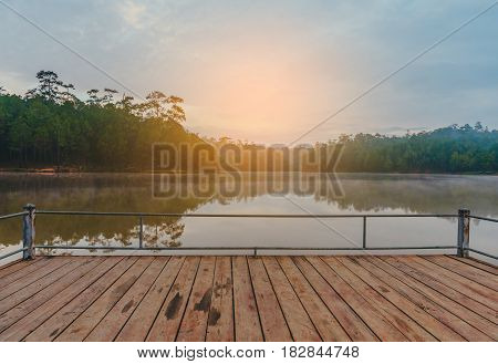 Lake And Pine Forest On Morning Time.