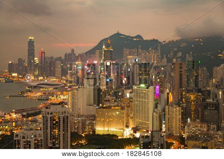 Blurred bokeh Hong Kong city central business downtown night light abstract background