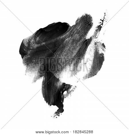 Black watercolor blot isolated on white background. Watercolor blot for your design logo emblem banner.