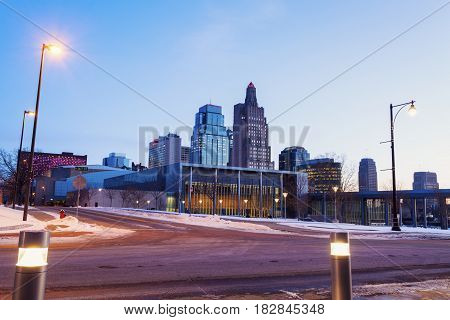 Kansas City panorama at dawn. Kansas City Missouri USA.