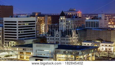 Panorama of Wichita at night. Wichita Kansas USA.