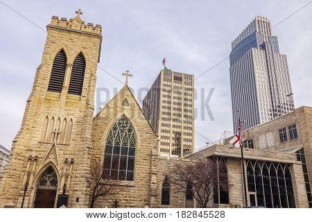 Trinity Cathedral in Omaha Nebraska. Omaha Nebraska USA.