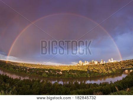 Large Rainbow over Edmonton. Edmonton Alberta Canada.