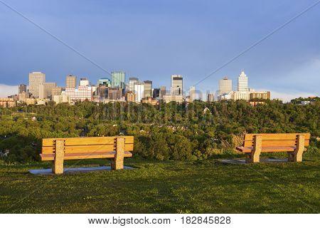 Panorama of Edmonton at sunrise. Edmonton Alberta Canada.