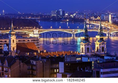 Margaret Bridge with Saint Anne church. Budapest Hungary.