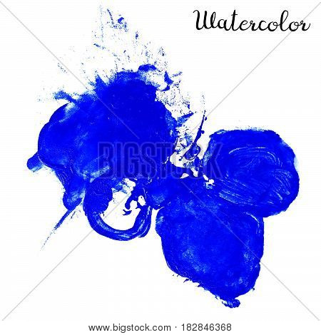 Blue watercolor blot isolated on white background. Watercolor blot for your design logo emblem banner.