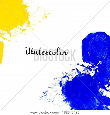 Blue and yellow watercolor blot isolated on white background. Watercolor blot for your design logo emblem banner.