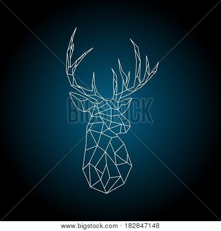 Polygonal head deer on dark blue background. Vector illustration.