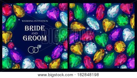 Vector wedding invitation with varicolored sparkling gems