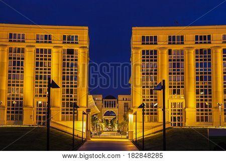 Montpellier architecture at night. Montpellier Occitanie France.