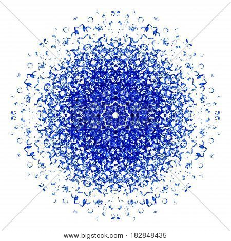 Blue watercolor blot isolated on white background. Watercolor vertical symmetry blot for your design logo emblem banner.