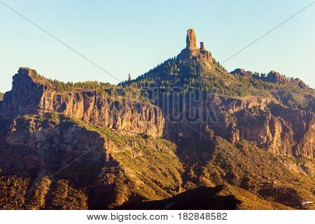 Roque Nublo at sunset. Gran Canaria Canary Islands Spain.