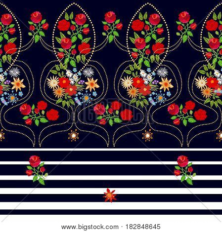 Damask pattern with roses and wildflowers. Vintage folk art motifs.