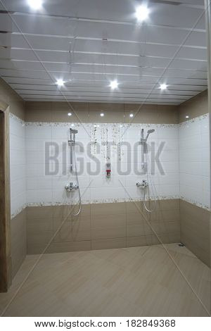 Interior of a public shower room
