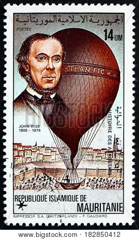 MAURITANIA - CIRCA 1983: a stamp printed in the Mauritania shows John Wise and his balloon Atlantic was an American pioneer of aviation circa 1983
