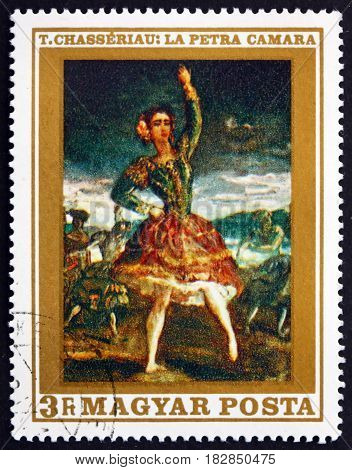 HUNGARY - CIRCA 1969: a stamp printed in Hungary shows La Petra Camara Painting by Theodore Chasseriau French Romantic Painter circa 1969