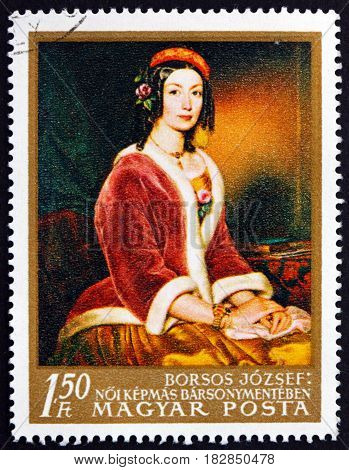 HUNGARY - CIRCA 1967: a stamp printed in Hungary shows Lady in Fur-lined Jacket Painting by Jozsef Borsos Hungarian Painter circa 1967
