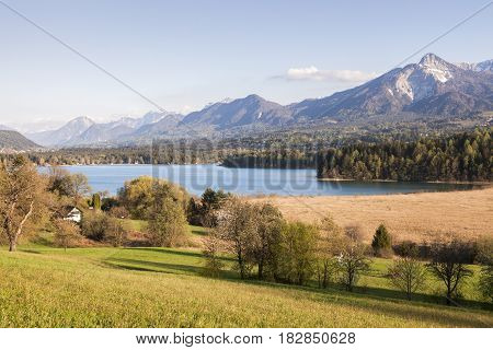 Panorama of Lake Faak at spring. Carinthia Austria.