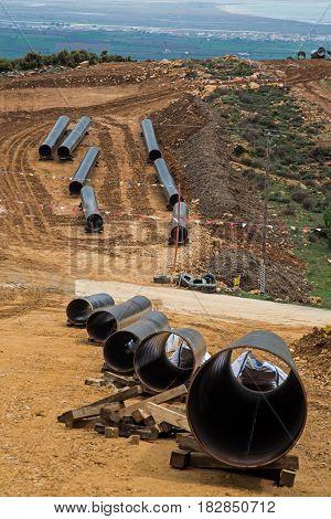 Gas pipeline construction in Evros , Greece.