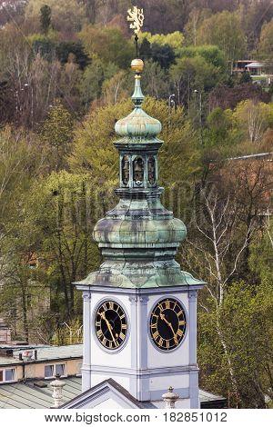 City Hall on Main Square of Ceske Budejovice. Ceske Budejovice South Bohemia Czech Republic.