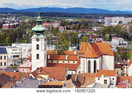 Aerial panorama of Ceske Budejovice. Ceske Budejovice South Bohemia Czech Republic.