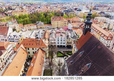 Old town of Ceske Budejovice - aerial photo. Ceske Budejovice South Bohemia Czech Republic.