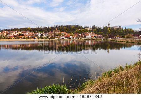 Hluboka nad Vltavou panorama. Hluboka South Bohemia Czech Republic.
