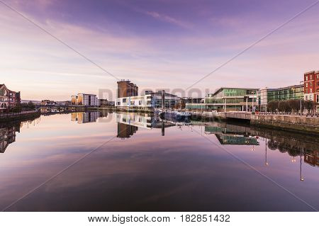 Belfast architecture along River Lagan. Belfast Northern Ireland United Kingdom.