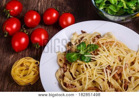 Pasta With Seafood. Tagliatelle With Squid