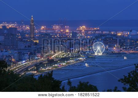 Panorama of Le Havre at night. Le Havre Normandy France