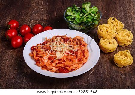 Vegetable Paste. Tagliatelle With Tomatoes