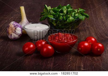 Homemade Tomato And Garlic Cream Sauces.